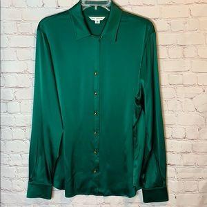 EUC St. John Silk Shirt Emerald